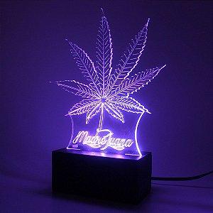 Luminária Mesa Led Acrílico Cannabis RGB 16 Cores 18cm