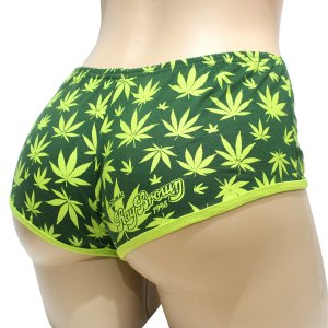 Short Cannabis Feminino Verde Skunk Marijuana Ray Brown