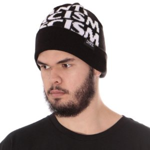 Gorro Touca Lã Chronic 420 Anti Racism Fascism Club Preto