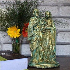 Imagem Sagrada Família de Nazaré Verde Metalizado