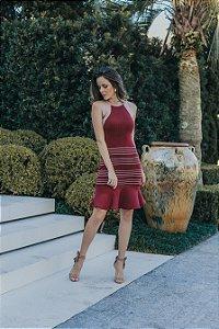 Vestido modal bordô