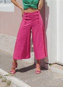 Pantacourt linho rosa