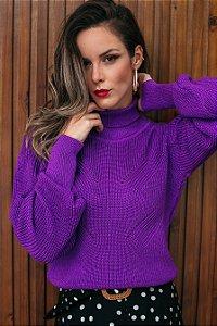 Blusa tricô gola alta roxa