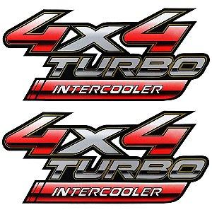 Par de Emblema Lateral da Caçamba Hilux 4x4 Turbo Intercooler