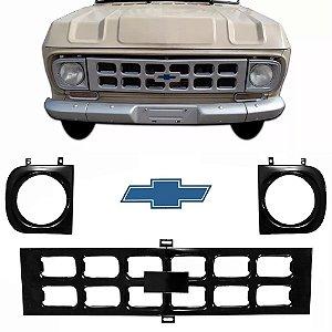 Grade Dianteira Preta  A10 C10 e D10 e Veraneio 1971 a 1984 com Aro e Emblema