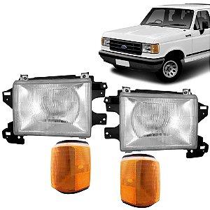 Kit de Farol e Pisca Ford F1000 e F4000 1993 a 1995 Lanterna Ambar