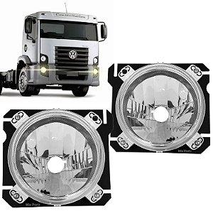 Par de Farol Principal com Suporte Caminhão VW Constellation 2006 em Diante - Original