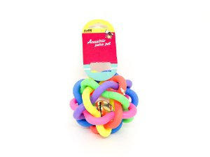 Mordedor Bola Brinquedo Pet de borracha colorido com guizo - AZPR
