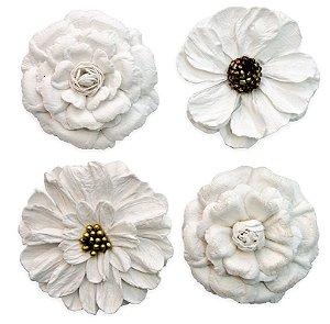 Flores Artesanais branca Pct 4 unidades 13383 Toke e Crie