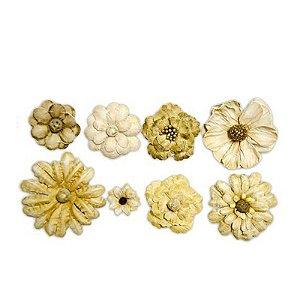 Flores Artesanais Nude II Pct 8 unidades - 13402 toke e crie