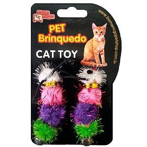 Brinquedo para Gatos Centopeia 2 unidades com guizo Bom Amigo