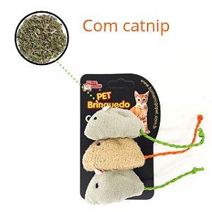 Brinquedo para gatos ratinho com catnip - 3 unidades Bom Amigo