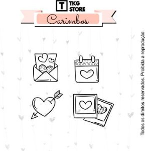 Kit Carimbo Artesanal Love com 4 unidades Scrapbook