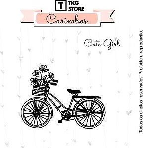 Carimbo Artesanal Cute Girl Bicicleta