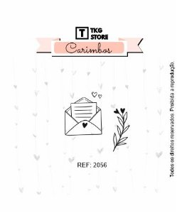 Carimbo Artesanal Envelope com ramo 2056