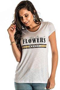 Blusa Flowers com Decote Redondo Corte Fio Silk