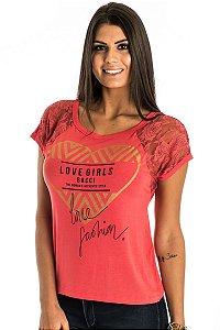 Blusa Decote Redondo Silk e Renda Ragla