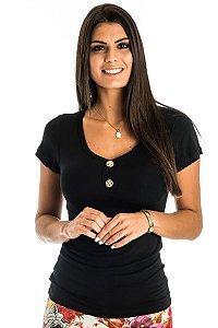 Blusa Decote V Peitilho com Botão