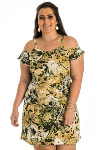 Vestido de Alça Listrado Plus Size