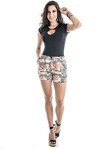 Shorts Estampado Soltinho com Bolso