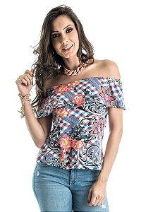 Blusa Ciganinha Estampada com Babado