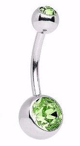 Piercing De Umbigo  Com Pedra Verde Claro P