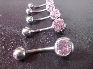 Piercing De Umbigo  Com Pedra Rosa G