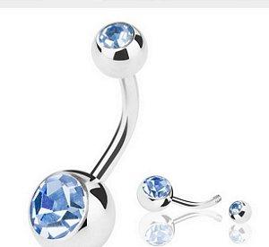 Piercing De Umbigo  Com Pedra Azul claro G