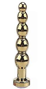 Plug Anal de Aço Inoxidável Dourado com cristal acrílico