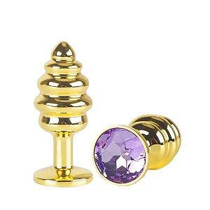 Plug anal de aço dourado escalonado com jóia