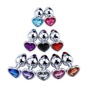 Plug anal de aço prata de coração