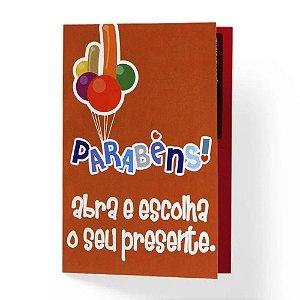 CARTÃO DE PRESENTE PARABÉNS ABRA E ESCOLA O SEU PRESENTE