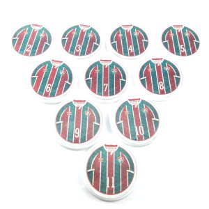 10 Botões - Acrílico Cristal 49mm - Fluminense