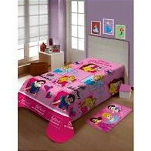 Manta Microfibra Solteiro Soft Jolitex Amigas Princesas Rosa