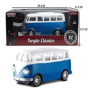 Carrinho Controle Remoto Azul Furgão Clássico Candide 3561
