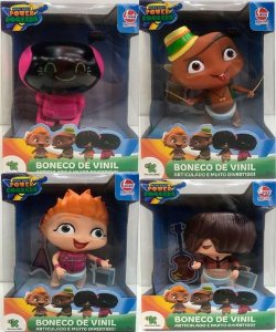 KIT 4 BONECO DE VINIL MINI BEAT POWER ROCKERS - MYO-CARLOS-WAT-FUZ