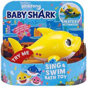 Boneco Com Som Baby Shark Robo amarelo Candide- 1118