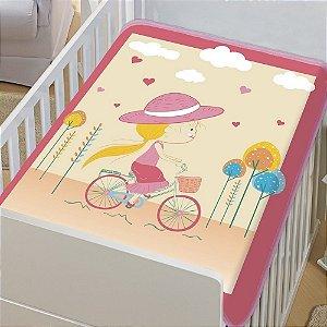 COBERTOR INFANTIL MOCINHA PEDALANDO TRADICIONAL ROSA JOLITEX