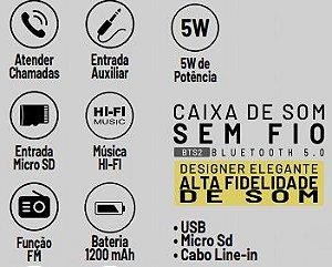 CAIXA DE SOM BLUETOOTH COM FM 5W LARANJA MAKETECH