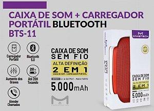 CAIXA DE SOM BRANCO COM LED + CARREGADOR PORTÁTIL  MAKETECH