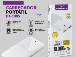 CARREGADOR PORTATIL 2 SAIDAS USB COM LED MAKETECH