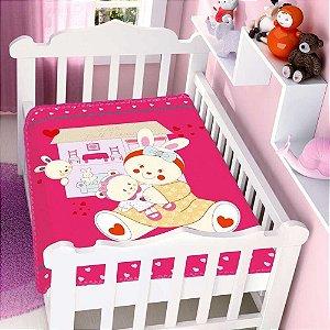 COBERTOR INFANTIL CASA E BONECA RASCHEL PINK JOLITEX- 4707