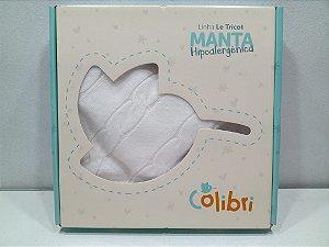 MANTA TRICOT 78X78 CM BRANCO COLIBRI- 20106