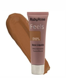 MAQUIAGEM BASE LIQUIDA FEELS CHOCOLATE AO LEITE 80  RUBY ROSE HB - 8053