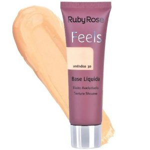 BASE LIQUIDA FEELS AMÊNDOA 30 TEXTURA MOUSSE RUBY ROSE