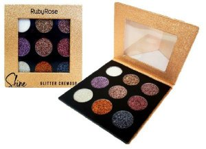 PALETA DE GLITTER CREMOSO SHINE 9 CORES  LIGHT RUBY ROSE HB-8407/G