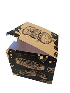 50 Embalagens Hambúrguer Lanche Artesanal Delivery Caixa Estampada