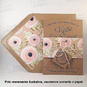 Papel Kraft 200g A4 200gr Rústico Para Convite de Casamento 250 Folhas 21x29,7 cm