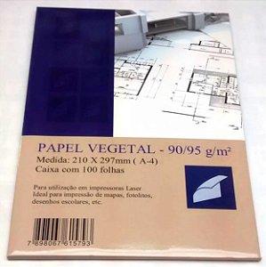 Papel Vegetal A4 90g Para Jato de Tinta e Laser 100 Folhas