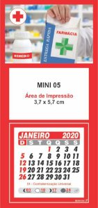 100 Mini Calendário Imã Geladeira 2020 Personalizado Farmácia